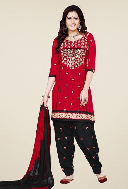Salwar Studio Red & Black Patiala Dress Material