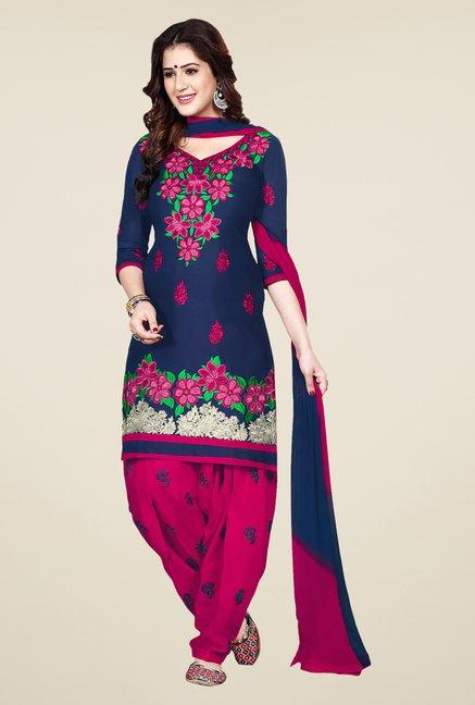 Salwar Studio Navy & Pink Patiala Dress Material