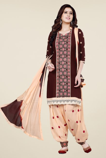 Salwar Studio Brown & Beige Patiala Dress Material