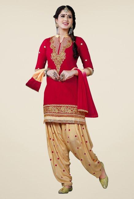 Salwar Studio Red & Beige Patiala Dress Material