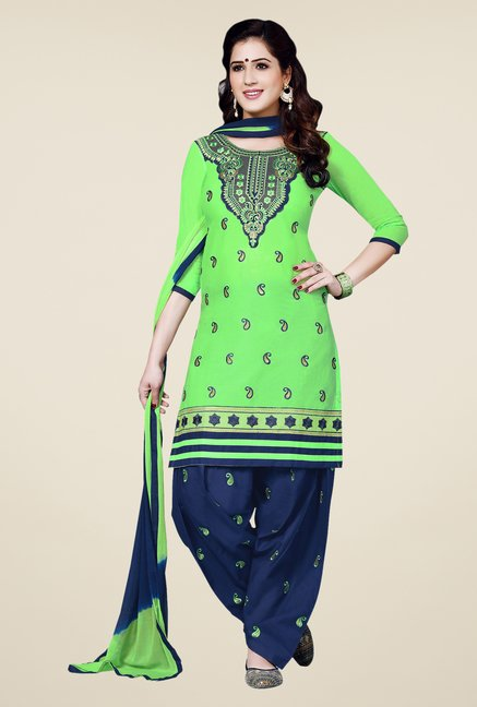 Salwar Studio Green & Blue Patiala Dress Material