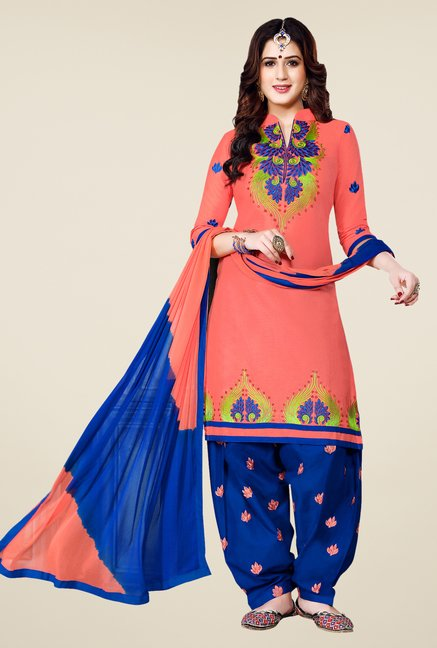 Salwar Studio Peach & Blue Patiala Dress Material