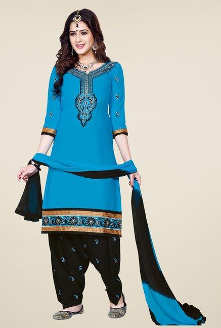 Salwar Studio Blue & Black Patiala Dress Material
