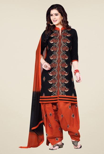Salwar Studio Black & Rust Patiala Dress Material