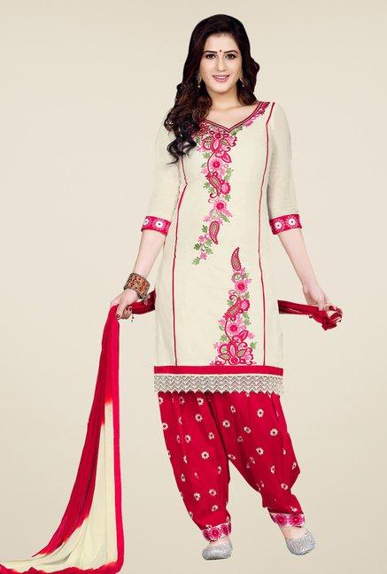 Salwar Studio Cream & Red Patiala Dress Material