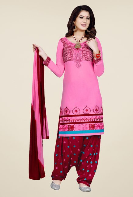 Salwar Studio Light Pink & Red Patiala Dress Material