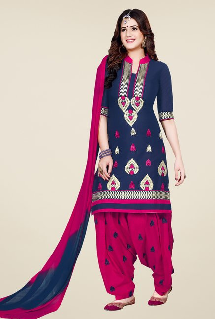 Salwar Studio Navy & Pink Patiala Dress Material