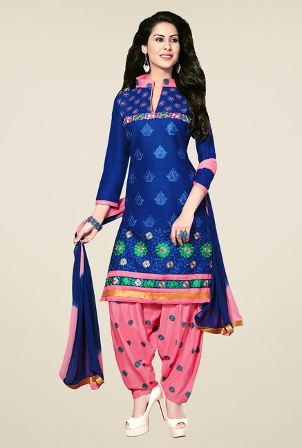 Salwar Studio Blue & Pink Patiala Dress Material
