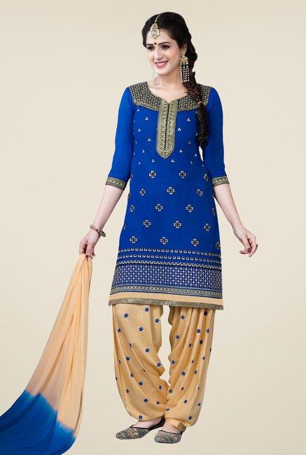 Salwar Studio Blue & Beige Patiala Dress Material
