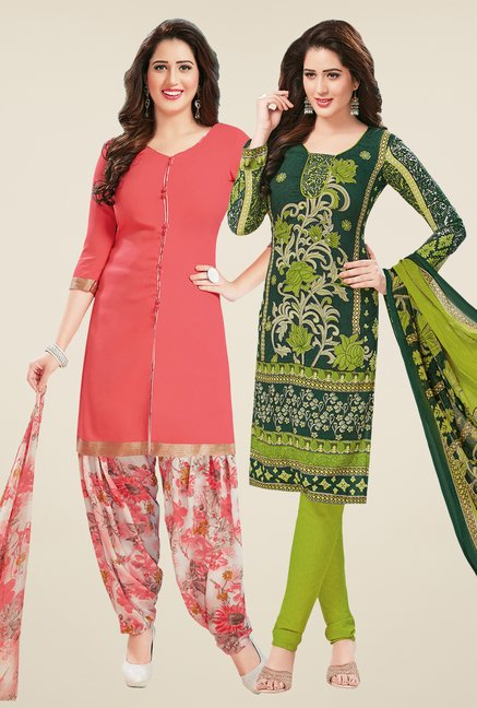 Salwar Studio Peach & Green Dress Material (Pack Of 2)
