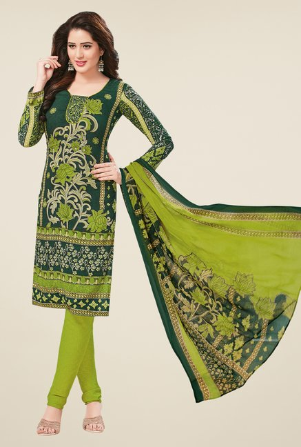 Salwar Studio Coral & Green Dress Material (Pack Of 2)