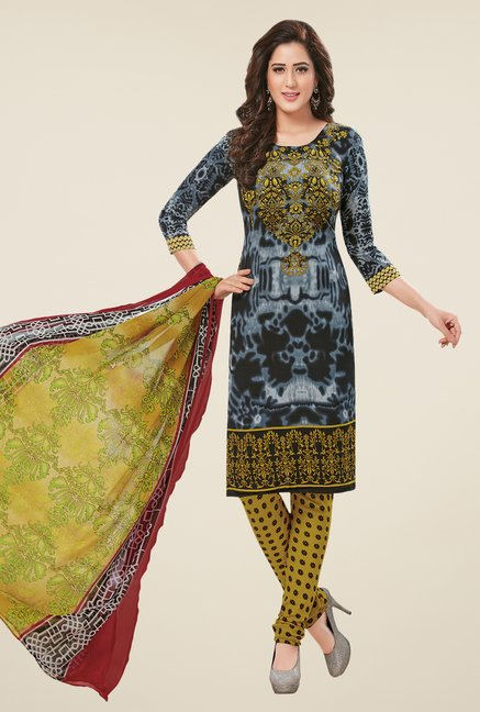 Salwar Studio Grey & Peach Dress Material (Pack Of 2)