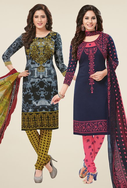 Salwar Studio Grey & Navy Dress Material (Pack Of 2)