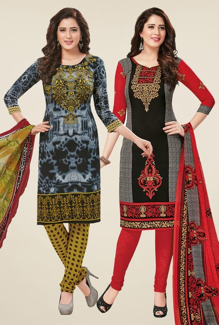 Salwar Studio Grey & Black Dress Material (Pack Of 2)