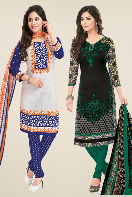 Salwar Studio White & Black Dress Material (Pack Of 2)