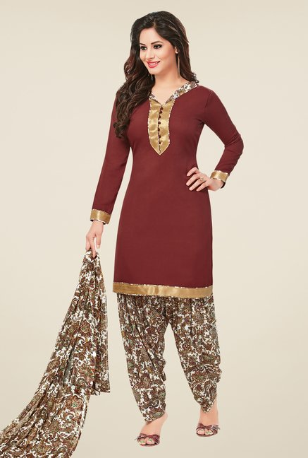 Salwar Studio Blue & Brown Dress Material (Pack Of 2)