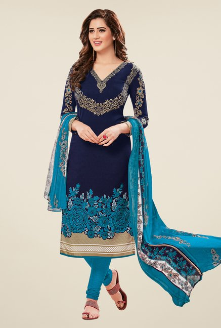 Salwar Studio Brown & Navy Dress Material (Pack Of 2)