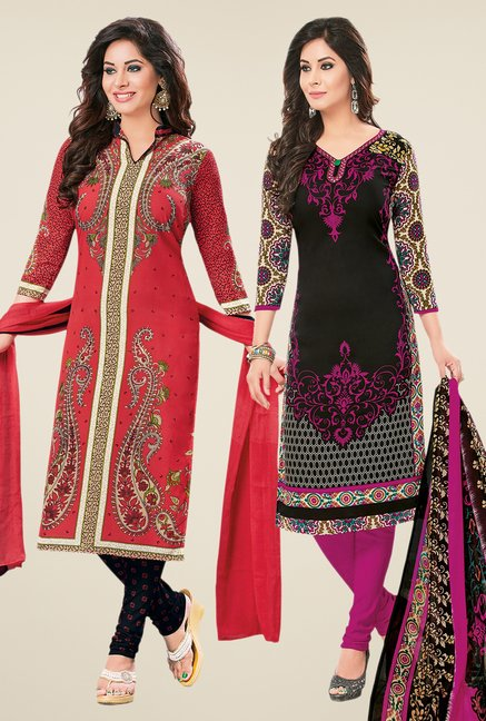 Salwar Studio Coral & Black Dress Material (Pack Of 2)