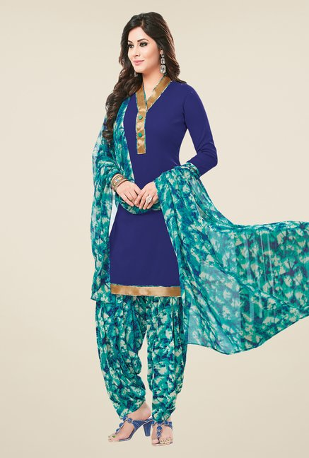 Salwar Studio Brown & Blue Dress Material (Pack Of 2)