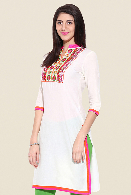 Mytri White Embroidered Kurti
