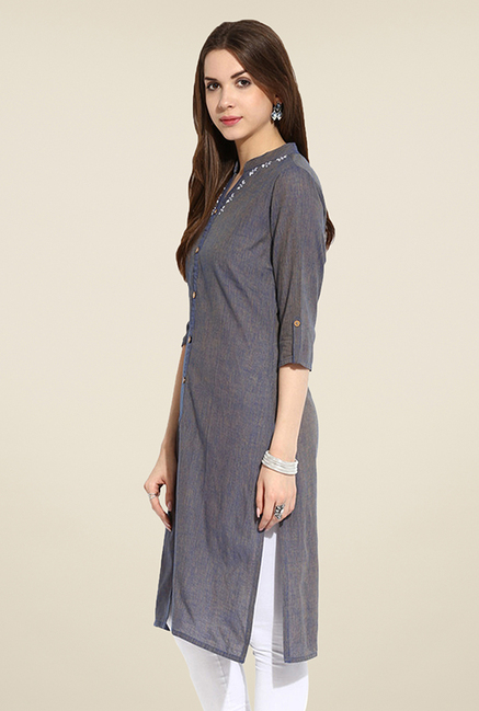 Mytri Blue Textured Kurta
