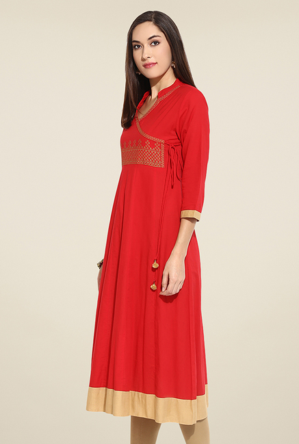 Mytri Red Embroidered Kurta