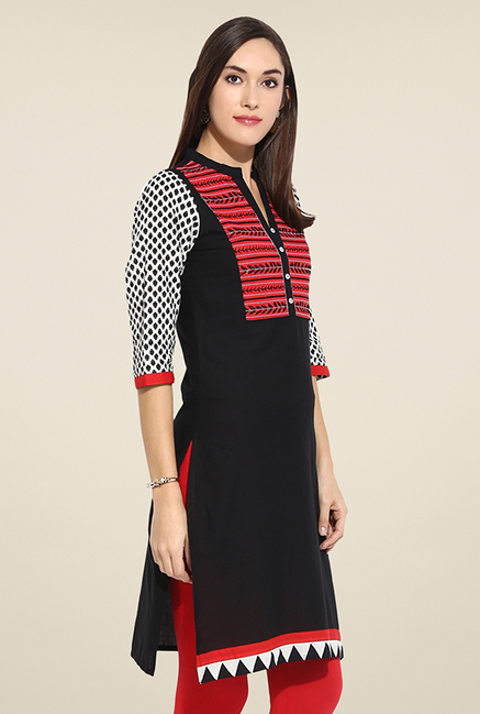 Mytri Black & Red Embroidered Kurti