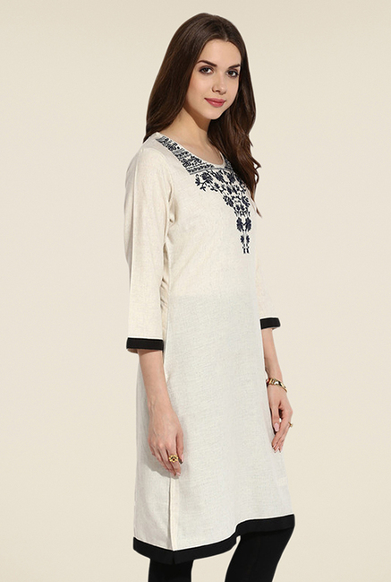 Mytri Cream Embroidered Kurti