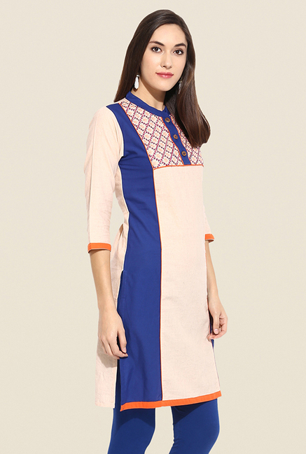 Mytri Beige & Blue Embroidered Kurti