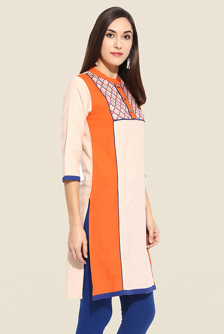 Mytri Beige & Orange Embroidered Kurti