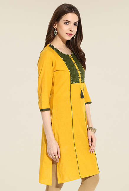 Mytri Yellow Solid Kurti