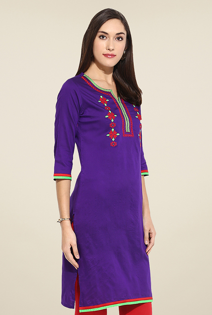 Mytri Purple Embroidered Kurti