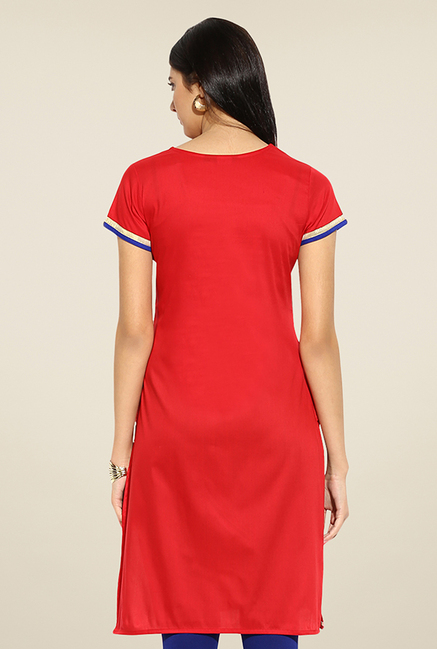 Mytri Red Embroidered Kurti