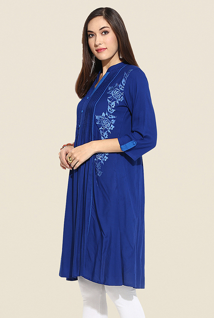 Mytri Blue Embroidered Kurti