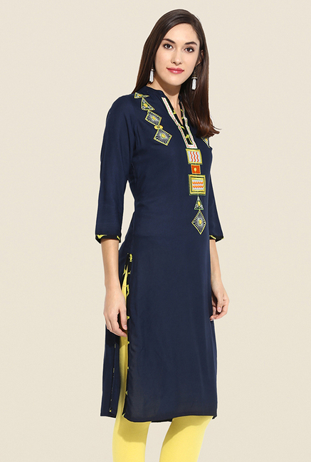 Mytri Navy Embroidered Kurta