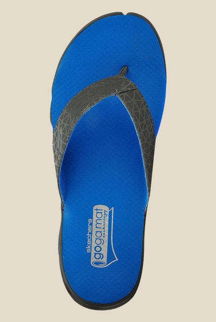 c7bd7e128 Buy Skechers Go Bionic Hollister Black   Blue Flip Flops for Men at ...