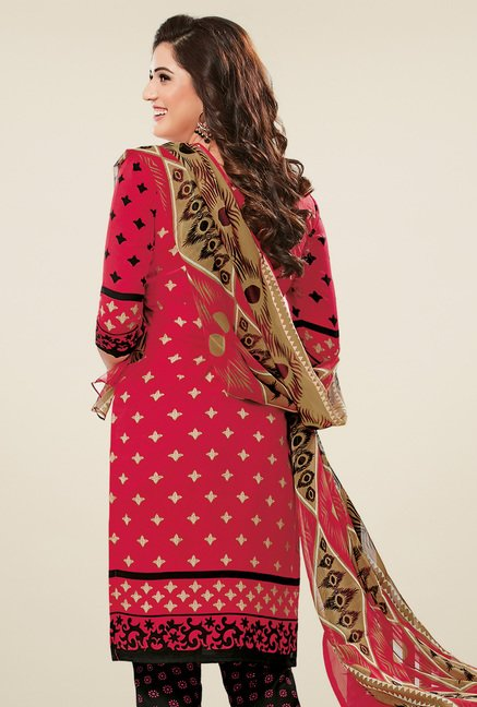 Salwar Studio Coral Red & Black Dress Material with Dupatta