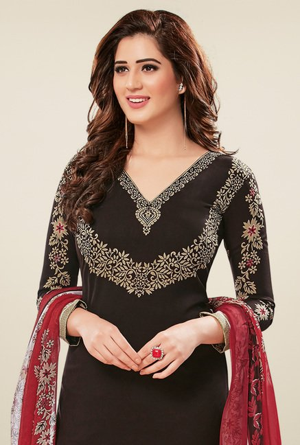 Salwar Studio Black & Maroon Dress Material with Dupatta