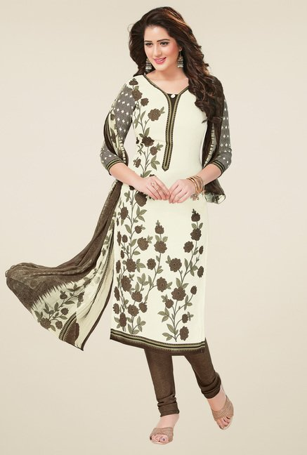 Salwar Studio Cream & Brown Dress Material with Dupatta