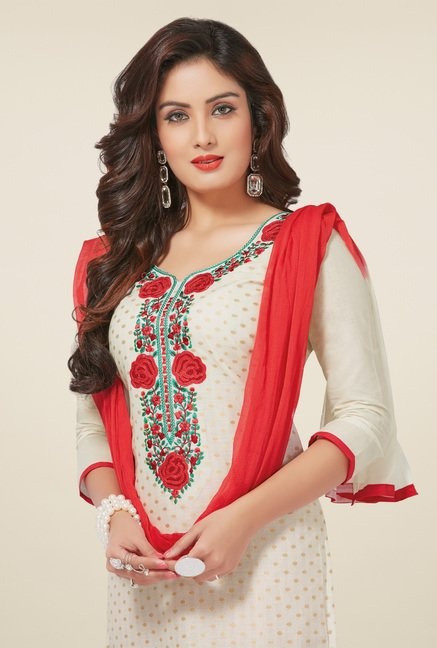 Salwar Studio Cream & Red Dress Material with Dupatta