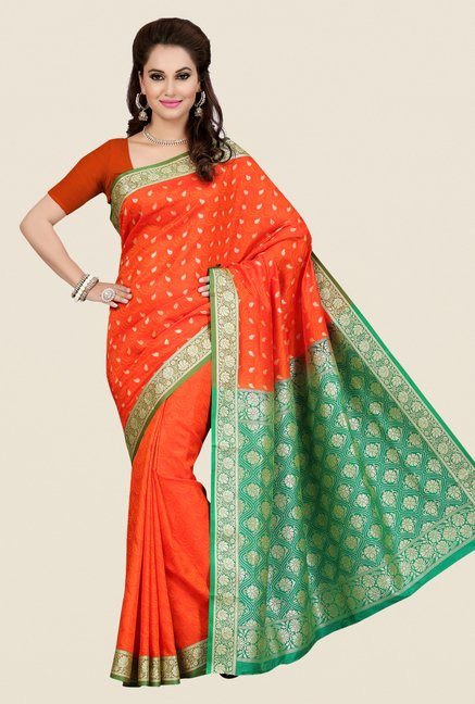 Ishin Orange Printed Poly Silk Saree