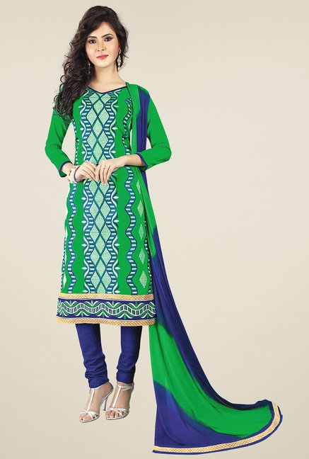 Ishin Green & Blue Printed Dress Material