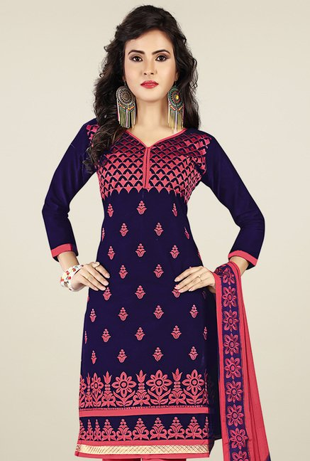Ishin Navy & Pink Printed Dress Material