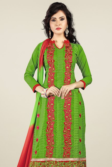 Ishin Green & Red Printed Dress Material
