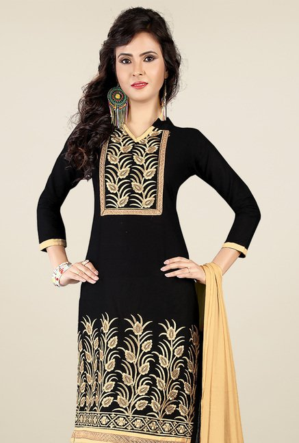 Ishin Black & Beige Printed Dress Material
