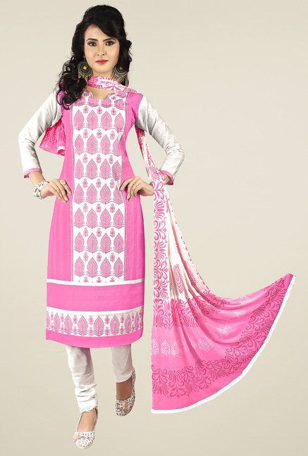 Ishin Pink & White Printed Dress Material