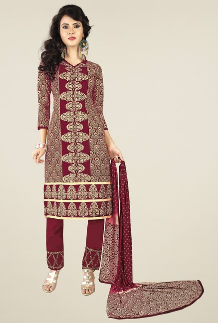 Ishin Beige & Maroon Printed Dress Material