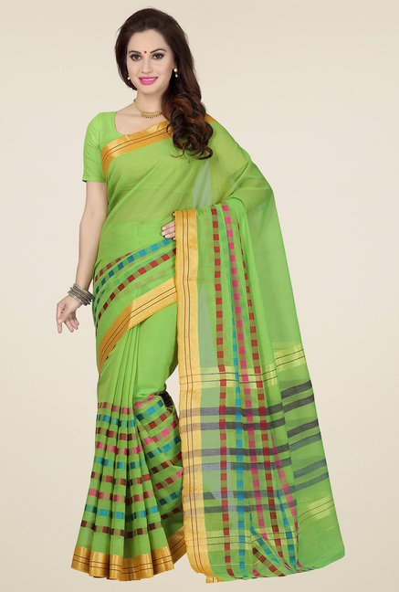 Ishin Green & Gold Cotton Printed Saree