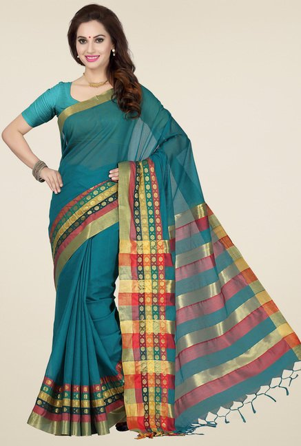 Ishin Blue & Red Cotton Printed Saree