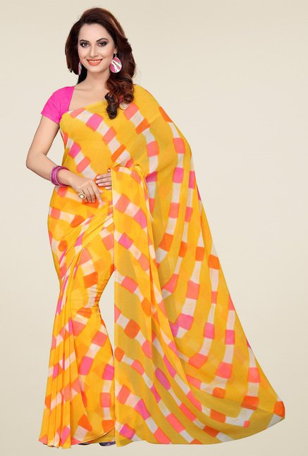 Ishin Yellow, Beige & Black Printed Sarees (Pack of 3)
